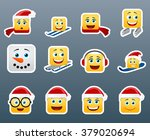 set of 12 winter holidays smile ... | Shutterstock .eps vector #379020694
