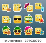 set of 12 vacation smile... | Shutterstock .eps vector #379020790