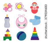 set of baby objects isolated on ... | Shutterstock .eps vector #379034683