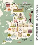 adorable United Kingdom travel map with attractions