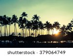 palm trees and sunset  hawaii  | Shutterstock . vector #379064749