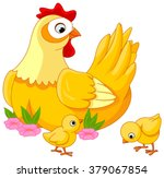 illustration mother hen with... | Shutterstock .eps vector #379067854
