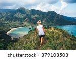 blonde hiker looks over the... | Shutterstock . vector #379103503