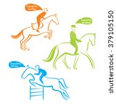 silhouettes of equestrians on... | Shutterstock .eps vector #379105150