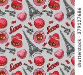 romantic paris. love. eiffel... | Shutterstock .eps vector #379127686