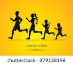 family running silhouettes ... | Shutterstock .eps vector #379128196