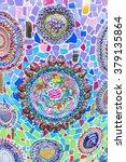 temple wall  mosaic   porcelain ... | Shutterstock . vector #379135864