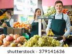smiling supermarket workers... | Shutterstock . vector #379141636