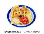 ham cheese waffle sandwich | Shutterstock . vector #379144090