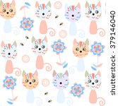 cute gentle colors kids cats... | Shutterstock .eps vector #379146040