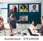 group friends video chat...   Shutterstock . vector #379149058