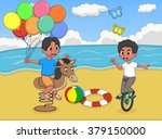 boys playing rocking horse and... | Shutterstock .eps vector #379150000