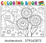 coloring book sunflowers near... | Shutterstock .eps vector #379162873