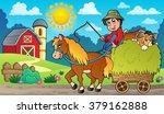 hay cart with farmer near farm  ... | Shutterstock .eps vector #379162888