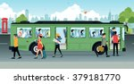 people were running up and down ... | Shutterstock .eps vector #379181770