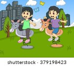 children playing rocking horse... | Shutterstock .eps vector #379198423