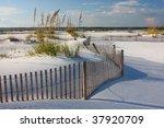 White Sand  Sea Oats And Fence...