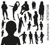 children silhouettes  | Shutterstock .eps vector #379207108