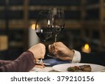 hand of man and woman sitting... | Shutterstock . vector #379210156