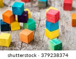 colorful wooden building blocks.... | Shutterstock . vector #379238374