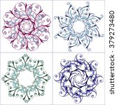set of multicolored floral... | Shutterstock .eps vector #379273480