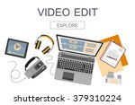 top view of workplace with... | Shutterstock .eps vector #379310224