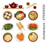 set of asian food. chinese and... | Shutterstock .eps vector #379345333