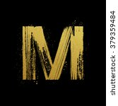 gold glittering letter m in... | Shutterstock .eps vector #379359484