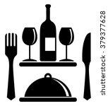 wine bottle  glasses  serving... | Shutterstock .eps vector #379377628