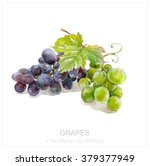 Green And Blue Grapes On A...