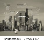 Vector Company infographic overview design template with city photo in the back | Shutterstock vector #379381414