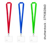 set of colorful lanyards and... | Shutterstock .eps vector #379382860