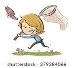 child chasing butterflies | Shutterstock . vector #379384066