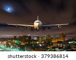 white passenger plane in flight ... | Shutterstock . vector #379386814