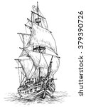 pirate ship   hand drawn vector ... | Shutterstock .eps vector #379390726