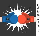 two boxing glove strike  flat... | Shutterstock .eps vector #379392673