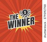 the winner typographic on red... | Shutterstock .eps vector #379392700