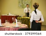 Rear View Of Girl. Waiter Read...