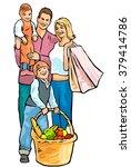 happy family shopping | Shutterstock . vector #379414786