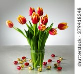 Bouquet Of Fresh Tulips In A...