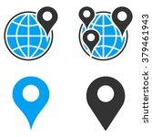 gps map markers glyph icons.... | Shutterstock . vector #379461943