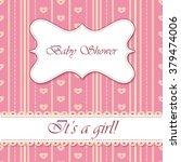 striped baby shower girl vintage | Shutterstock .eps vector #379474006