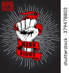 hand fist old ribbon or print... | Shutterstock .eps vector #379478803