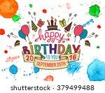 happy birthday to you. hand... | Shutterstock .eps vector #379499488