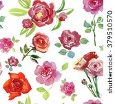 luxurious red roses painted in... | Shutterstock . vector #379510570
