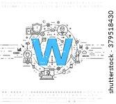 alphabet letter w. flat style ...   Shutterstock .eps vector #379518430