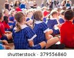aussie kids at assembly | Shutterstock . vector #379556860