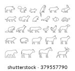 vector line set of domestic ... | Shutterstock .eps vector #379557790