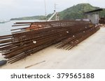 Reinforcement bar with temporary rust for column of bridge of pier - stock photo
