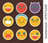 set of cheerful smiley . emoji... | Shutterstock .eps vector #379571209